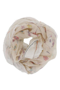 Beige Floral Infinity Scarf
