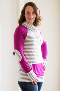 Berry Cowl Neck Long Sleeve Shirt