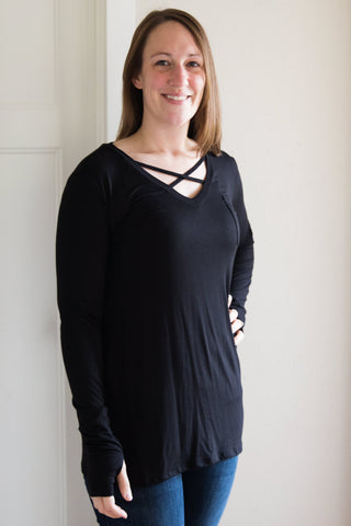 Black Thumb Hole Tunic