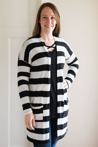 Black Ivory Stripe Cardigan