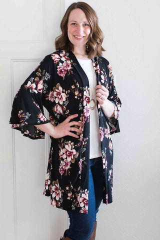 Black Floral Long Cardigan