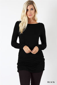 Black Long Sleeve Tunic with Shirring Detail