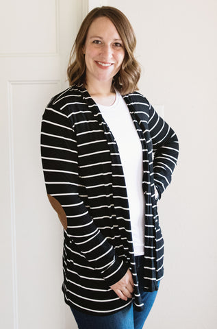 Black and Ivory Stripe Cardigan with Elbow Patches