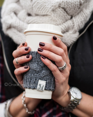 Cabled Sweater Cup Cozy