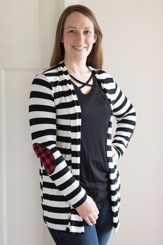 Cardigan with Buffalo Plaid Elbow Patches