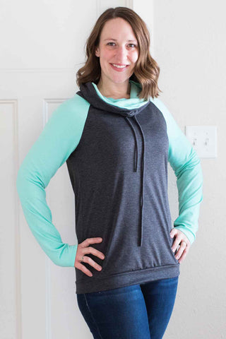Funnel Neck Charcoal Mint Pullover