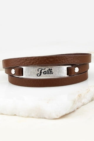 Leather Faith Bracelet