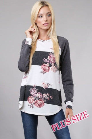 Gray Floral Stripe Long Sleeve Shirt