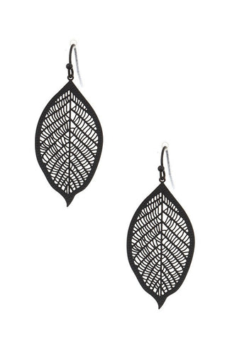Black Leaf Cut out Dangle Earring