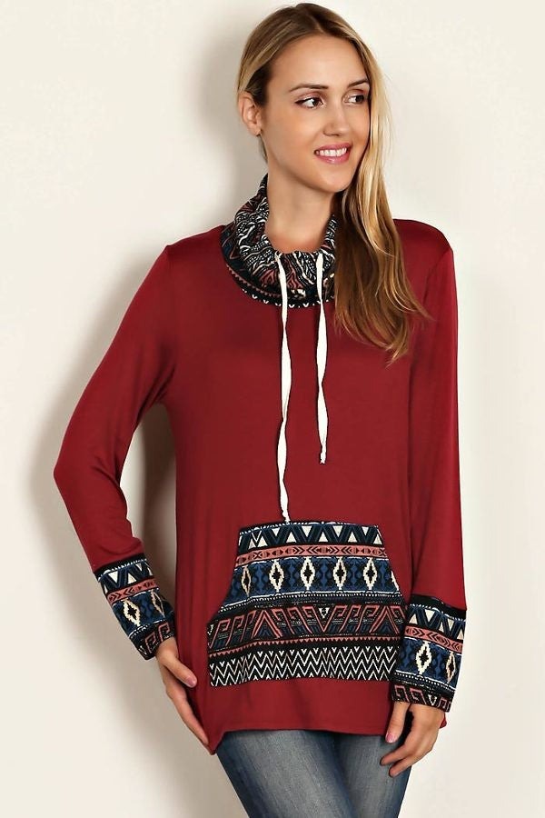 Burgundy Aztec Print Cowl Neck Pullover