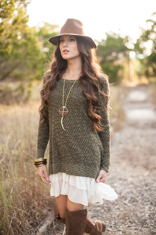 Moss Honeycomb Sweater