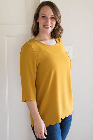 Mustard Scalloped Top