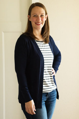 Long Cardigan with Pockets Navy