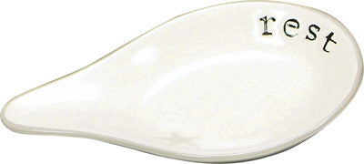 "Beautiful, Heavy Duty, Stoneware Spoon Rest with the word ""Rest"" engraved on it."