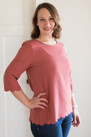 Rose Scalloped Top