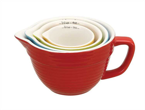 Stoneware Batter Bowl Measuring Cups - Primary Colors