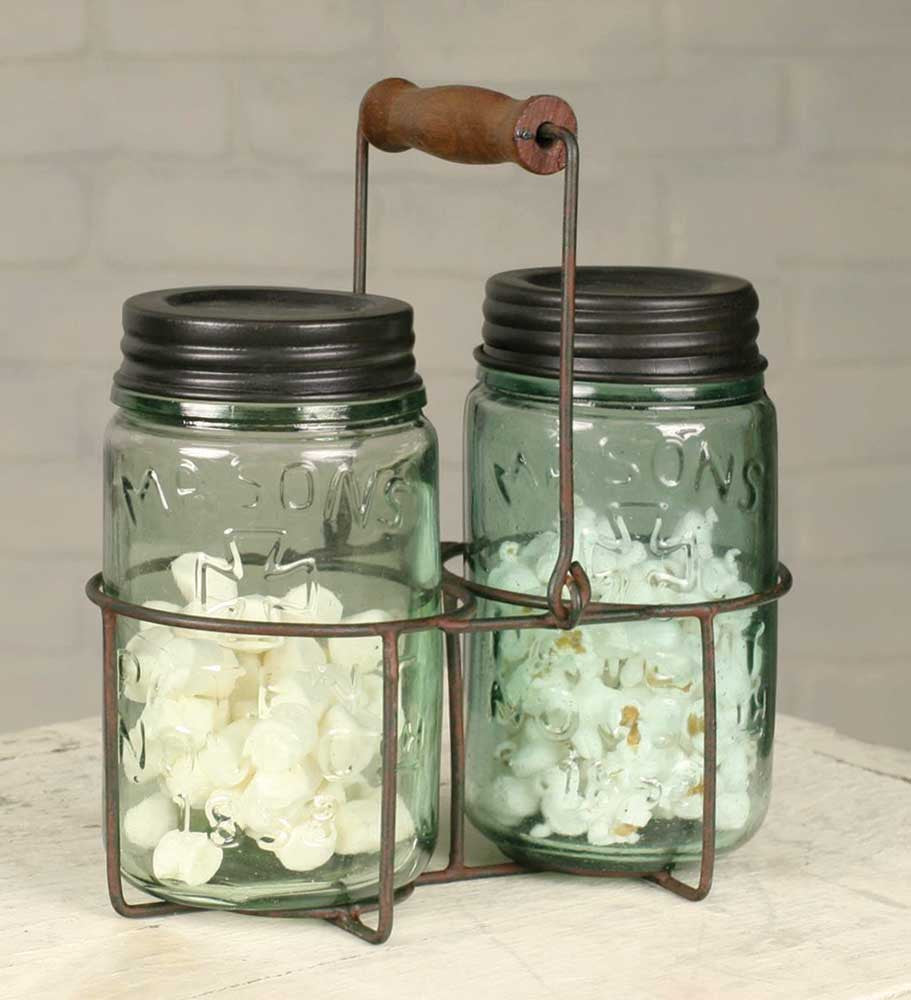 Wire Pint Mason Jar Caddy with Wooden Handle