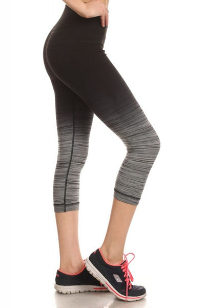 Black Ombre Sports Capri