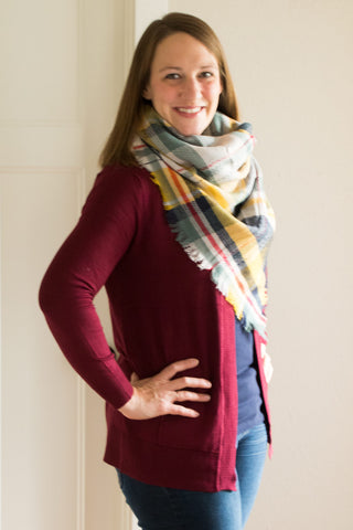 Long Cardigan with Pockets Burgundy