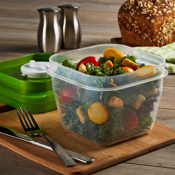 Salad Shaker Container with Removable Ice Pack and Dressing Dispenser