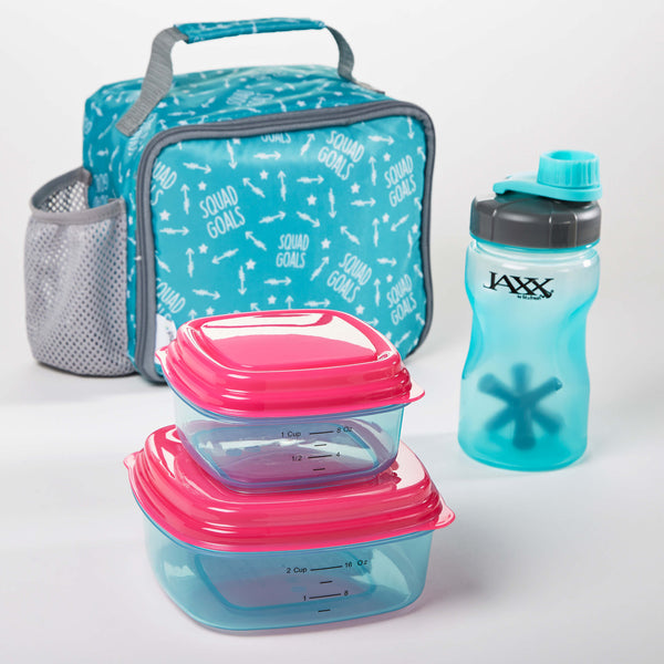 Logan Kids' Insulated Lunch Bag Set with Reusable Containers and 16 oz. Jaxx Shaker Bottle