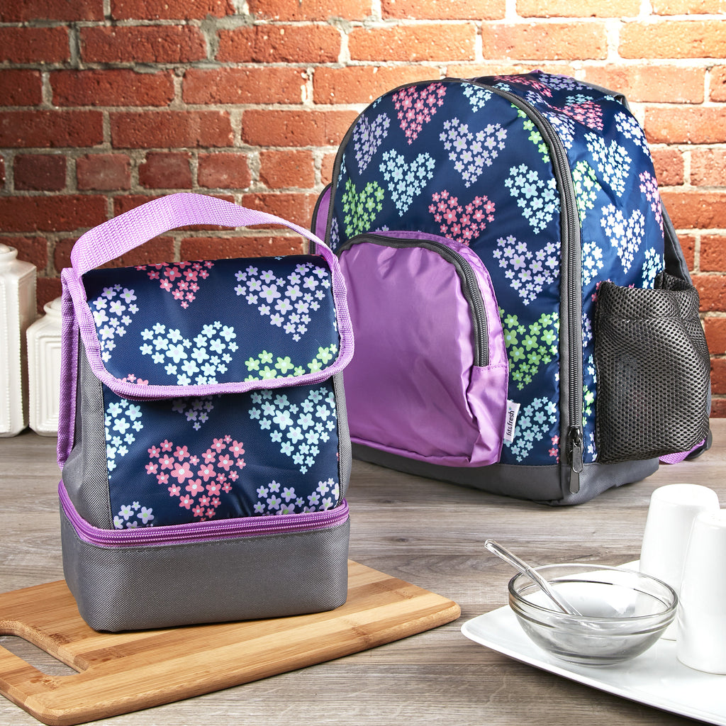 Small Kids' Backpack & Matching Insulated Lunch Bag - Heart Flowers