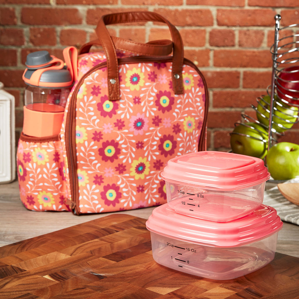 Wichita Insulated Lunch Bag Set with Reusable Containers & 24 oz Active Sport Bottle