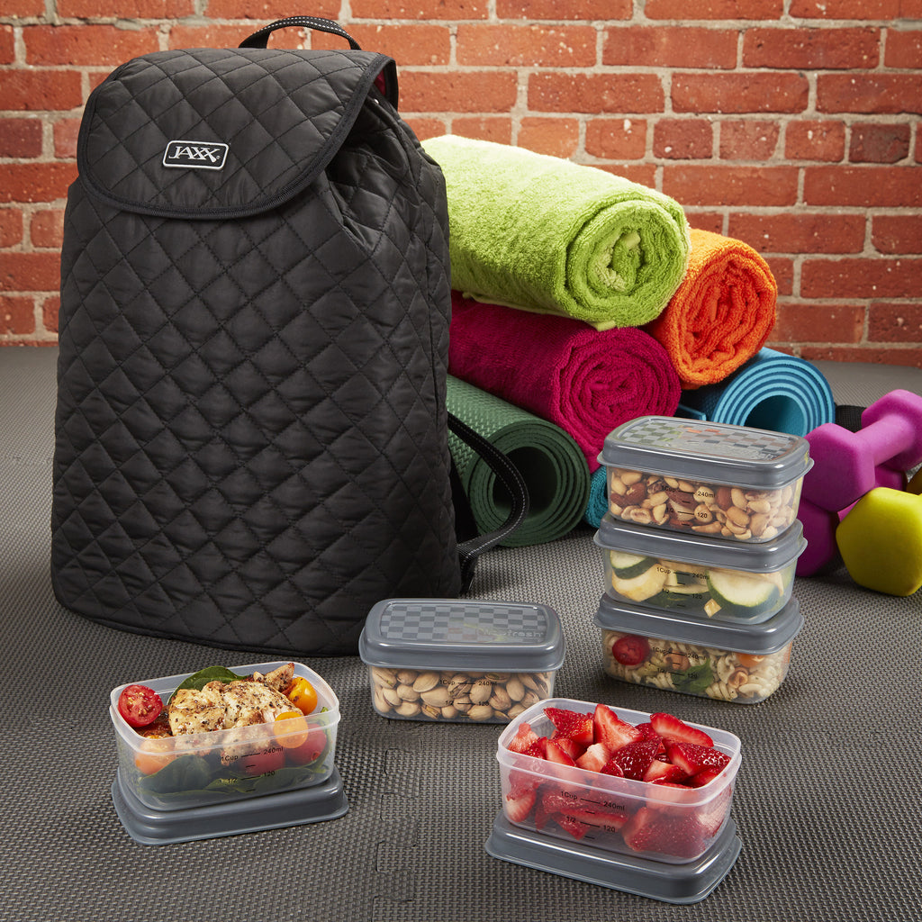 Jaxx Quilted FitPak Meal Prep Backpack with Portion Control Container Set