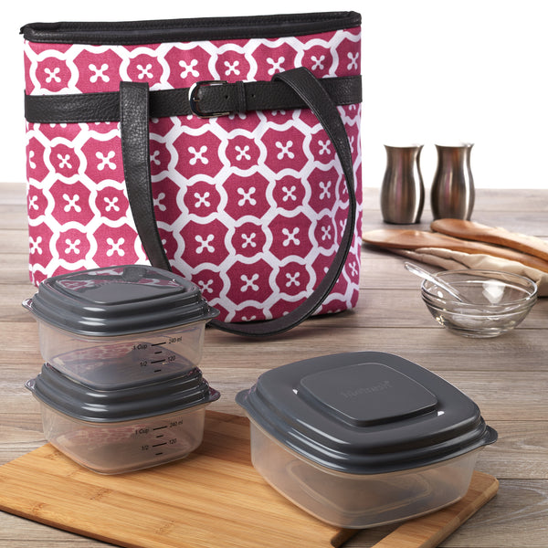 Newberry Insulated Lunch Bag Kit with Reusable Container Set