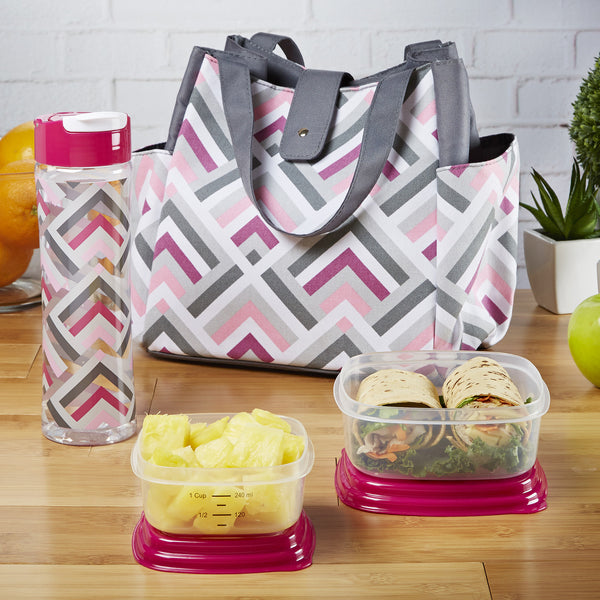 Westport Insulated Lunch Bag Set with Reusable Container Set and 20 oz Water Bottle