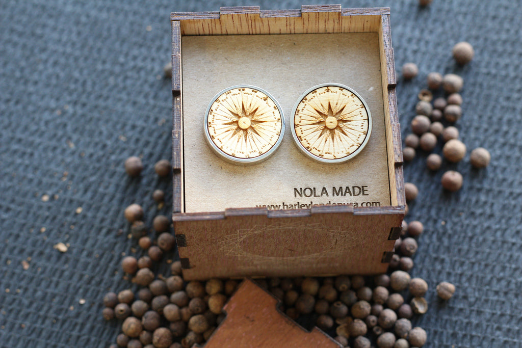 Wooden Compass Cufflinks and Keepsake Box by Harley London and