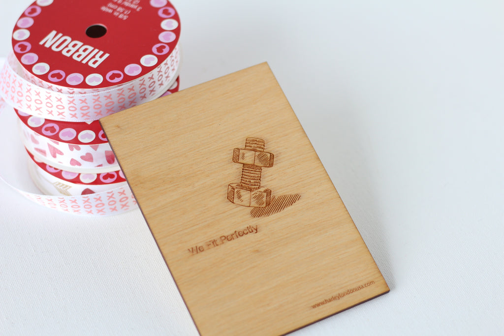 Adorable Love Card with nut and bolt drawing - made from wood in new orleans la