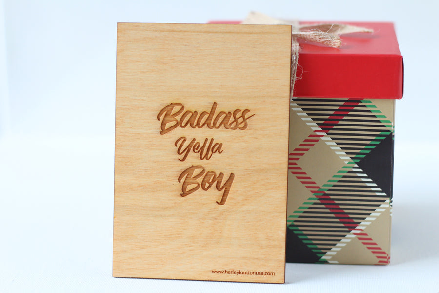 Wood Greeting Card - Badass Yella Boy - Harley London