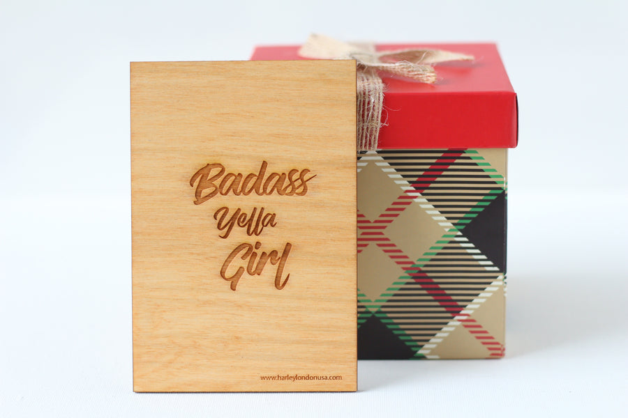 Wood Greeting Card - Badass Yella Girl - Harley London