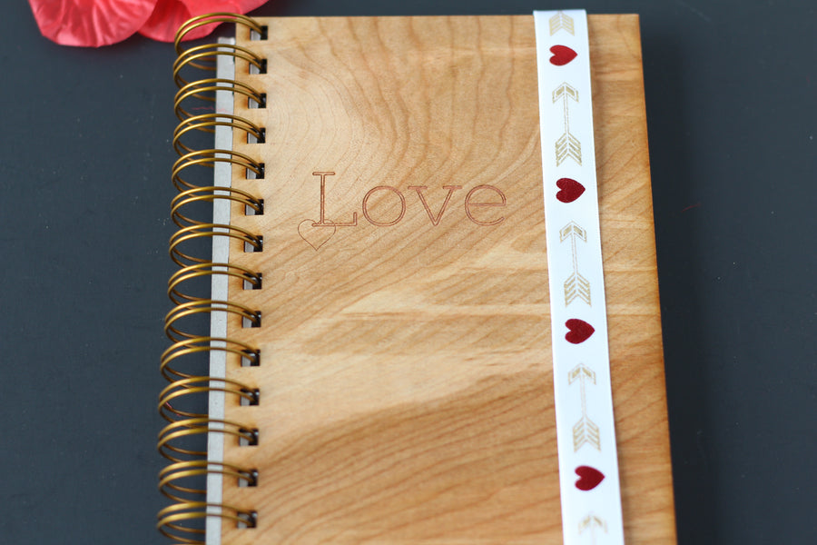Laser Engraved Wooden Notebook Journal - Love Note & Poem Journal made from wood - spiral notebook