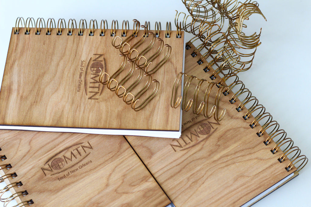Custom Corporate Notebooks | Spiral Bound Wood Notebooks | Corporate Logo Gifts