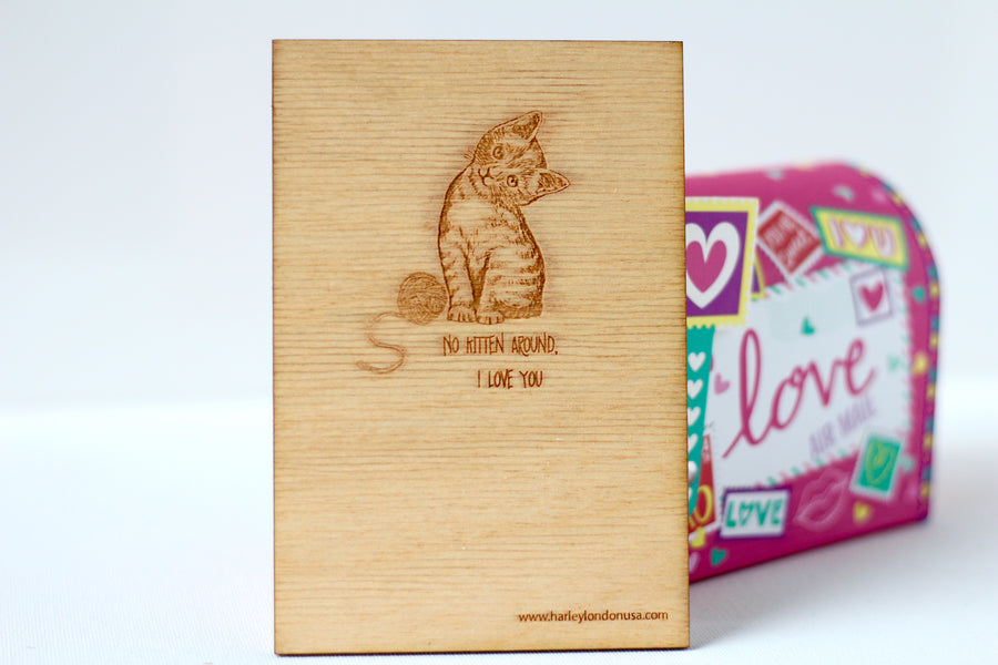 Cuter Kitten Card for daughter, son, wife, girlfriend, bff, boyfriend, or loved one.  Made from certified sustainable wood in New Orleans, LA USA