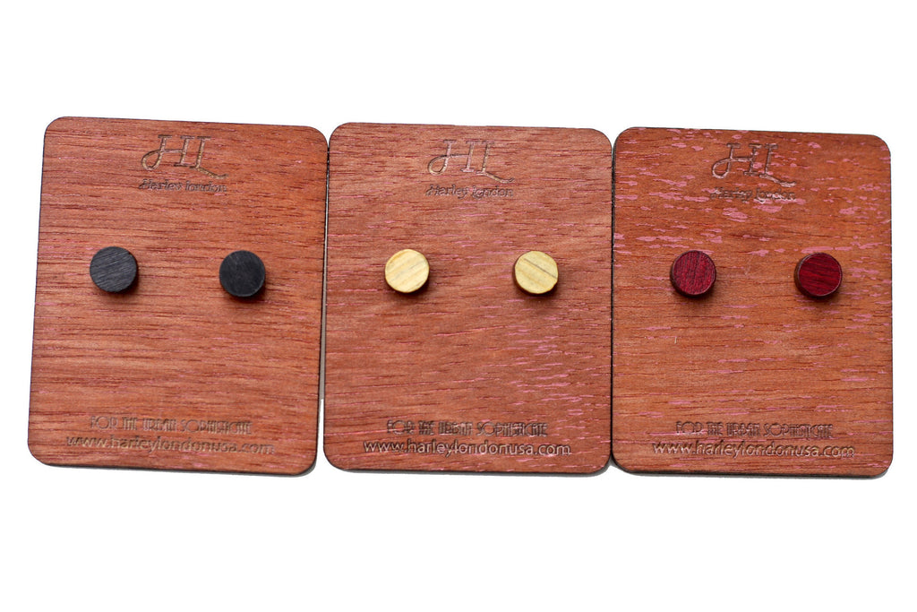 Black, Red, and Yellow Wooden Stud Earrings by Harley London