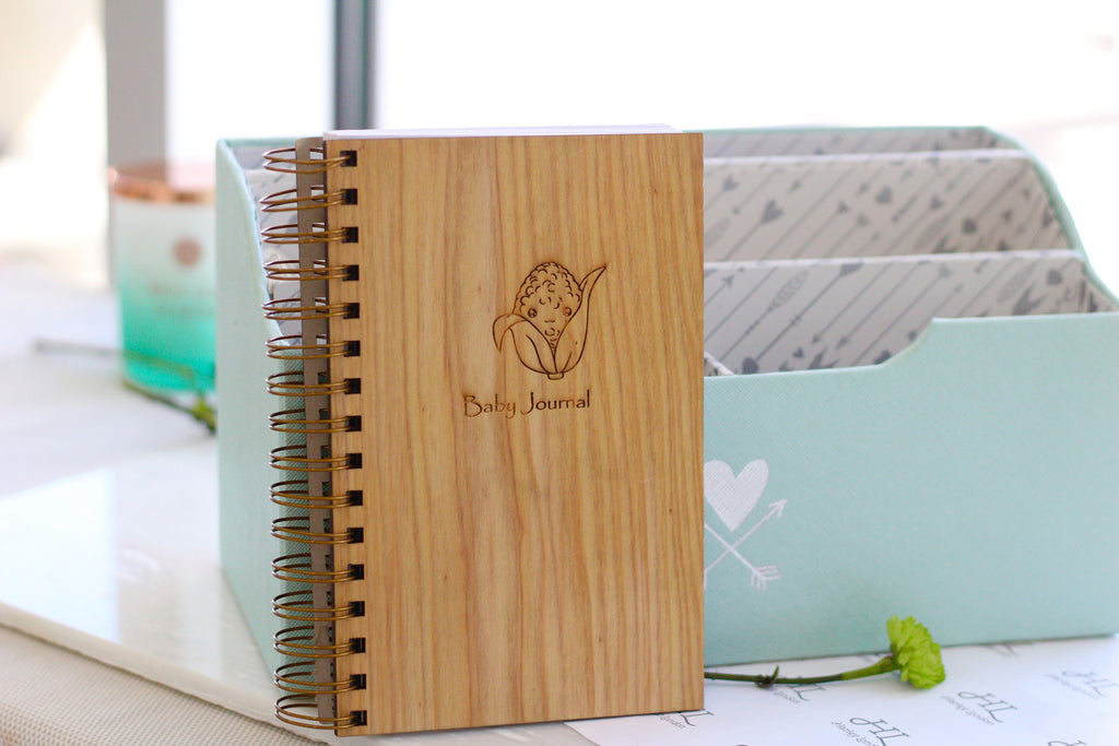 Wooden Pregnancy Journal | Baby Shower Gift Notebook by Harley London