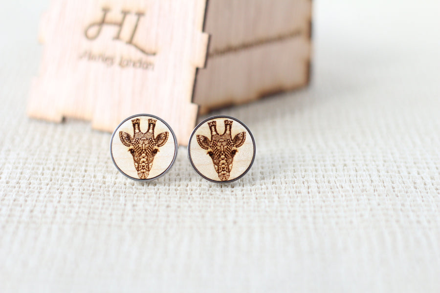 Engraved Zentangle Giraffe Cufflinks - Harley London