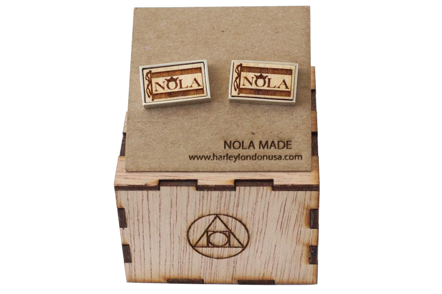 Wood Engraved New Orleans Tricentennial Cufflinks - Stainless Steel and Wood Cufflinks