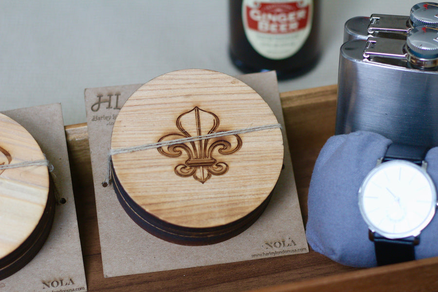 Engraved Cypress Wood Coasters | Wooden New Orleans Coasters