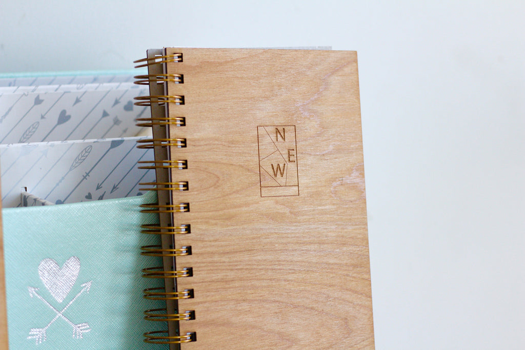 Unique Wooden Wedding Vow Notebook Journal - Something New Wedding Planner Journal by Harley London