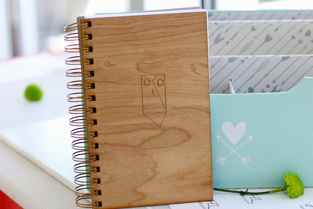 Engraved Wedding Planner - Wooden Wedding Planning Notebook Journal