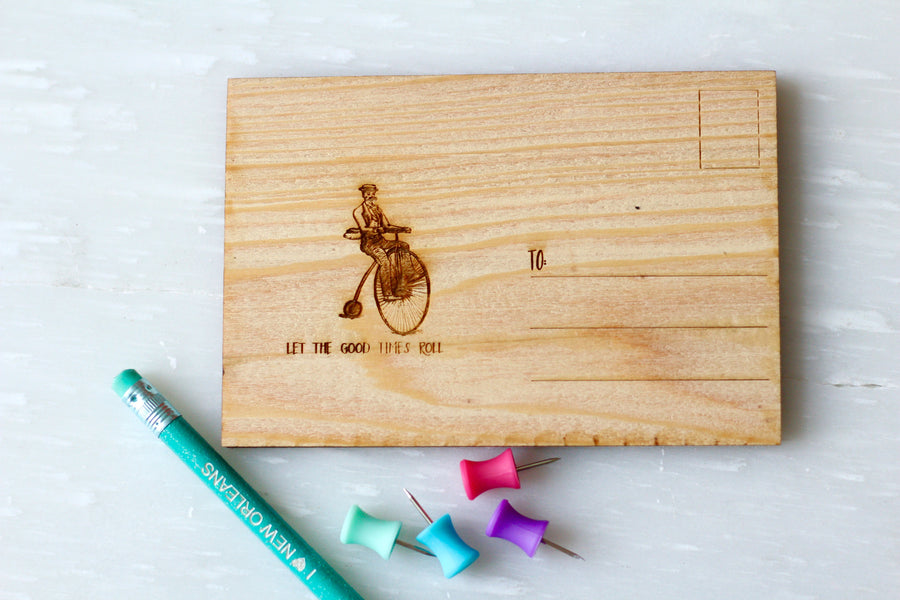 Engraved Wooden Postcard from New Orleans - Wooden Bicycle Postcard by Harley London