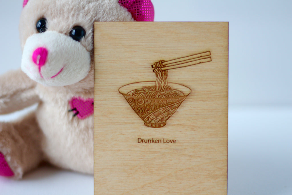 Wood Greeting Card - Drunken Love - Harley London