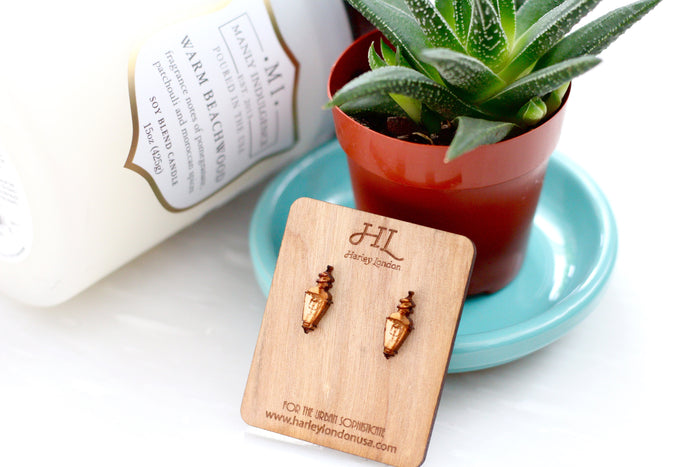 Wood Stud Earrings - Engraved Gas Lamp Earrings - Harley London