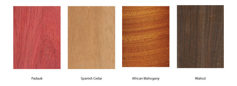 Types of Wood for our wooden cufflinks - walnut wood, spanish cedar wood, mahogany wood
