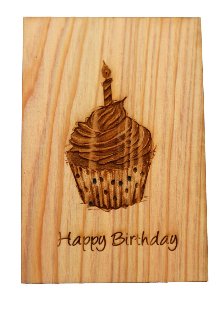 Wood Happy Birthday Card with a cute cupcake lots of icing and one birthday candle and polkadots