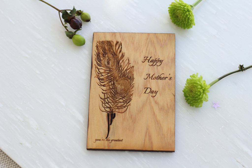 Wood Mother's Day Card with Feather - Cypress Wood Mother's day card by Harley London